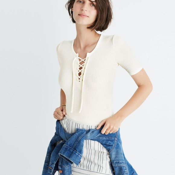 Madewell Tops - Madewell Ribbed Lace-Up Bodysuit in Ivory